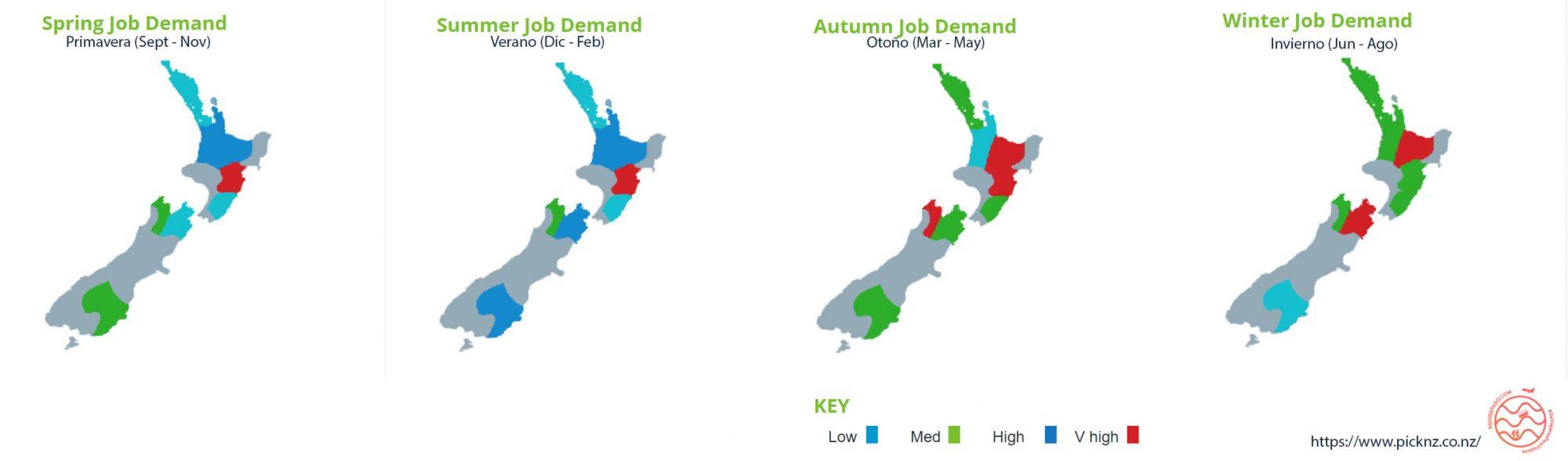 trabajo de temporadas en NZ